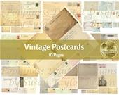 VINTAGE POSTCARDS Ephemera for Junk Journals | Digital Papers
