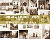 SEPIA PHOTOS DIGITAL! Rear View Stories | Digital Collage Sheet l Junk Journal Ephemera