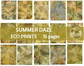 SUMMER DAZE ECO Print | Digital Eco Dyed Leaf Prints Junk Journal Backgrounds Yellow Orange Leaves