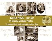 VINTAGE KISS CHILDREN Kissing Valentine's Day Images Printable Digital Collage Sheet Kiss! Kiss! Junior Junk Journal Printable Ephemera