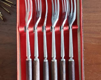 Stainless Steel Fondue Fork Set  Vintage Boxed Set of Fondue Forks with Plastic Handles  Made in Japan