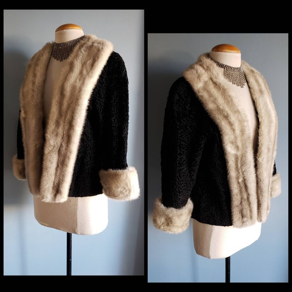 Beautiful 1950s curly lamb and mink jacket.