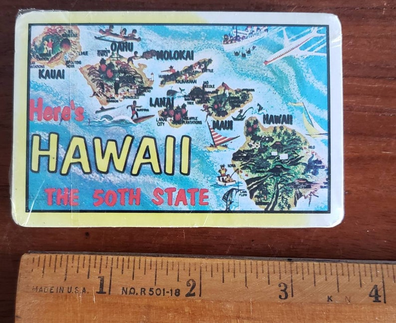 Vintage new old stock Hawaiian souvineer playing cards.