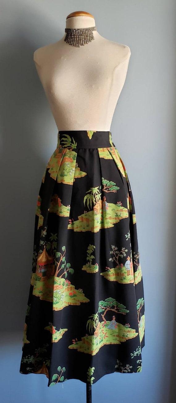 1950s novelty print asian landscape skirt. Petite. - image 3