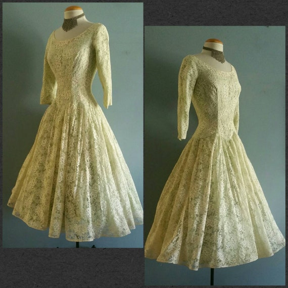 1950s sage green formal gown.