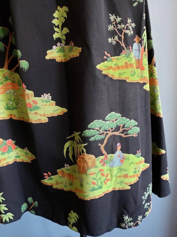 1950s novelty print asian landscape skirt. Petite. - image 10
