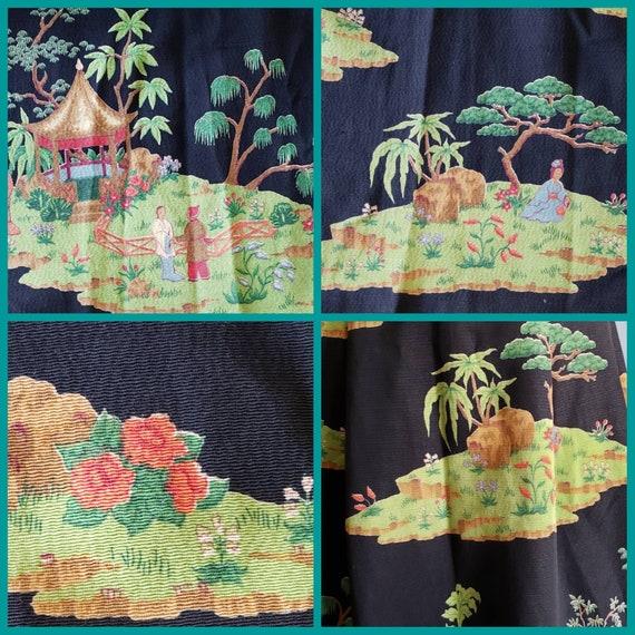 1950s novelty print asian landscape skirt. Petite. - image 2