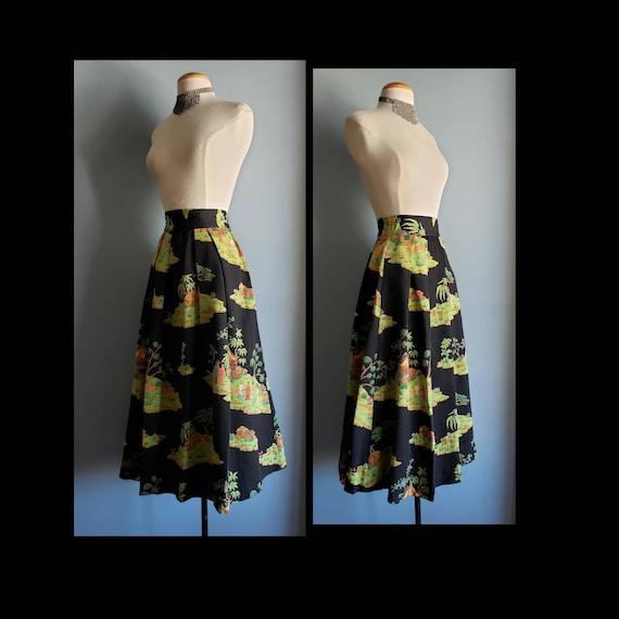 1950s novelty print asian landscape skirt. Petite. - image 1