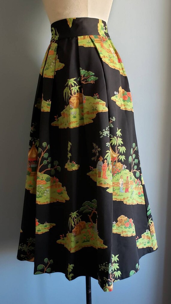 1950s novelty print asian landscape skirt. Petite. - image 7