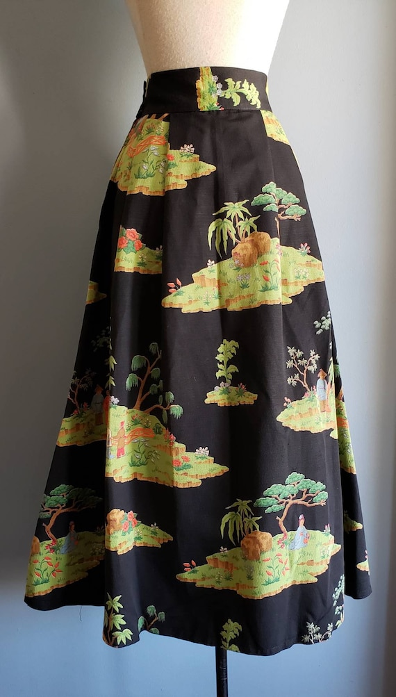 1950s novelty print asian landscape skirt. Petite. - image 9