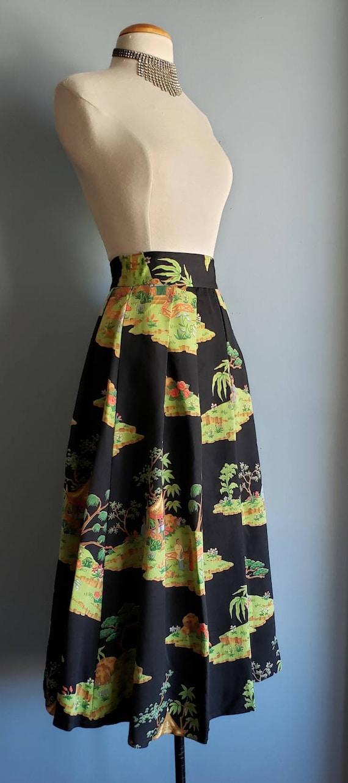1950s novelty print asian landscape skirt. Petite. - image 5