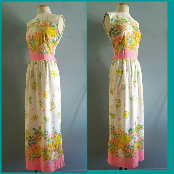 Vintage Hawaiian border print maxi dress.