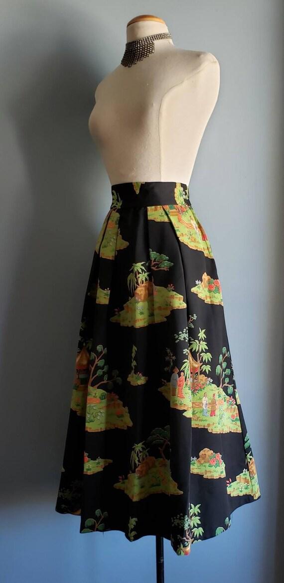 1950s novelty print asian landscape skirt. Petite. - image 6