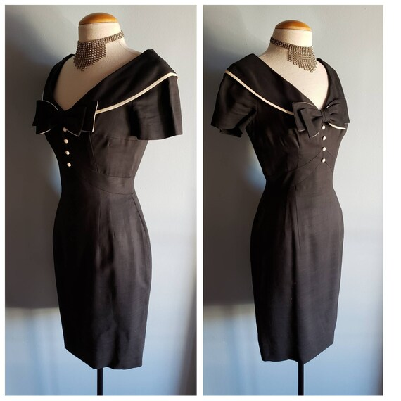 1950s black linen Mr. Blackwell dress. Petite.