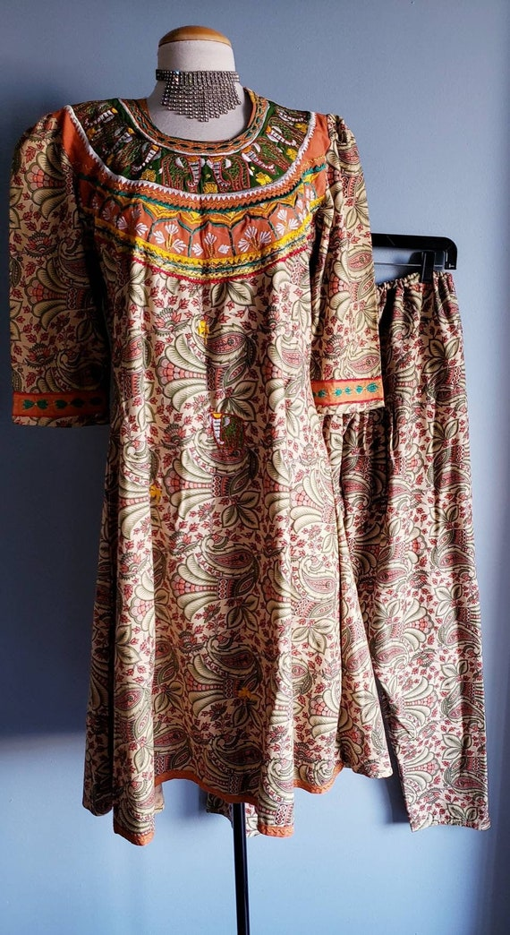 Vintage 1970s Punjabi suit/Salwar pants. Cotton p… - image 1