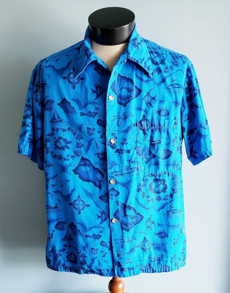 95f0085c XL vintage mens Ui-Maikai blue Hawaiian shirt. | Etsy