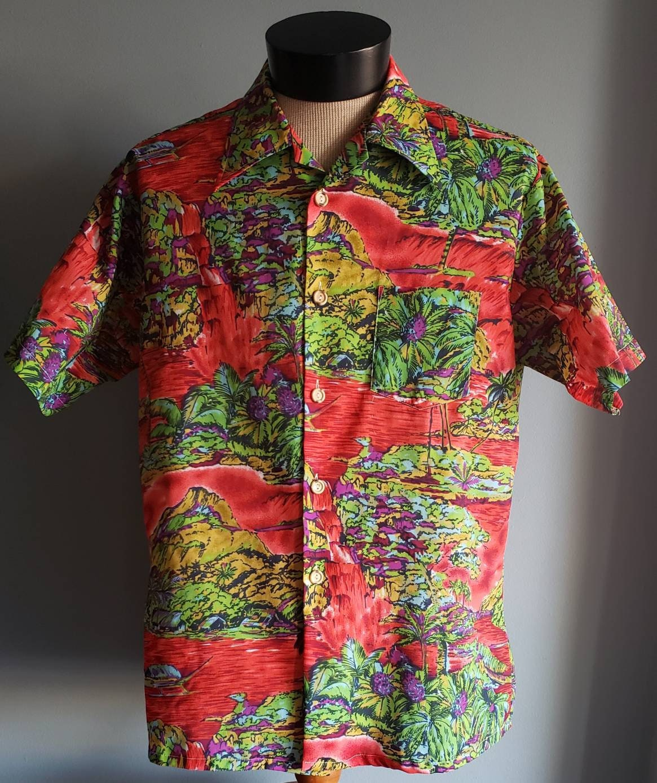1970s Mens Shirt Styles – Vintage 70s Shirts for Guys Mens Vintage Watercolor Print Hawaiian Shirt. Xl $5.00 AT vintagedancer.com