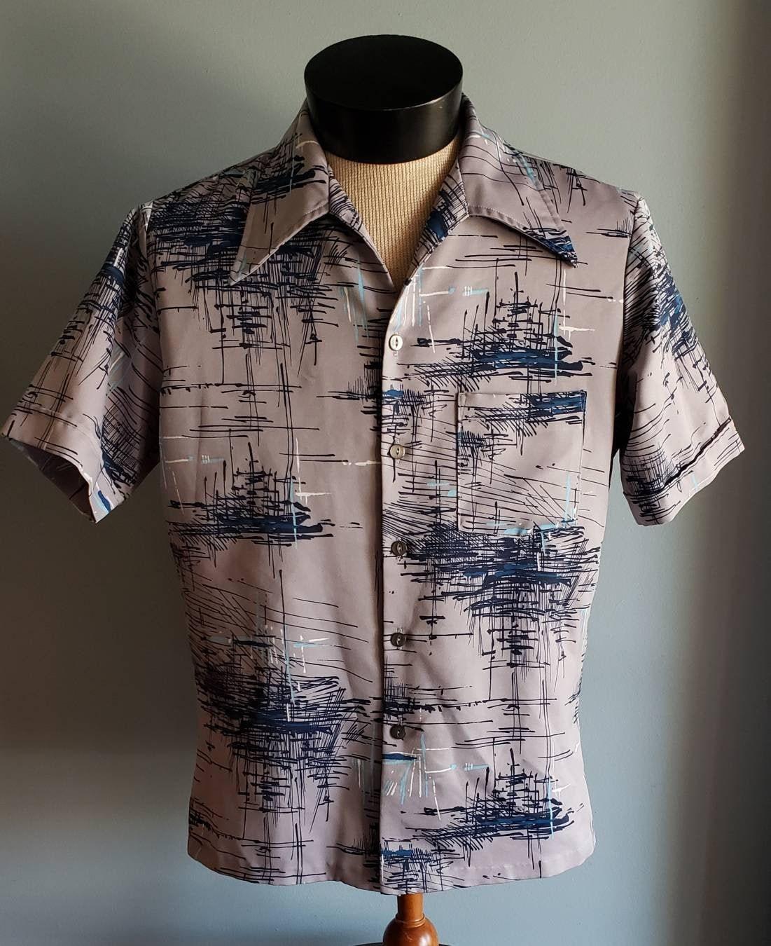 1970s Mens Shirt Styles – Vintage 70s Shirts for Guys Triumph Of California Mens Atomic Era Print Shirt $7.00 AT vintagedancer.com