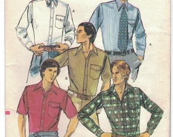 Vogue 9617 Mens Shirt Pattern Size 16 1/2 Neck 1970s Slim Fit Uncut