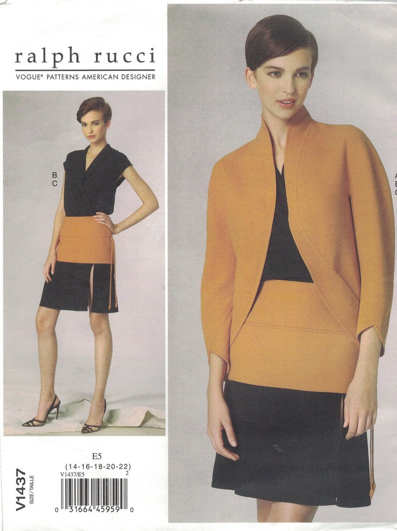 Vogue 1437 Ralph Rucci Pattern Jacket Top Skirt Choose Size image 0