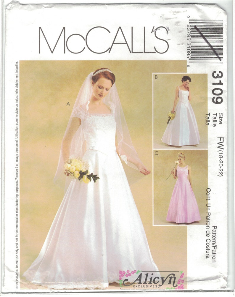 mccall's 3109 alicyn wedding dress gown pattern cap sleeve option plus size  18 20 22