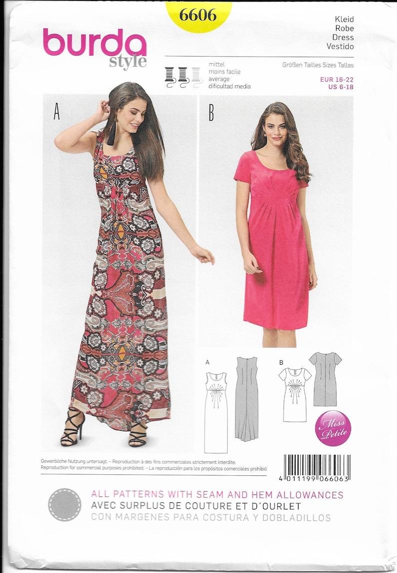 Burda Style 6606 Size 6 18 Petite Pattern Maxi Dress Gathered Bodice Uncut
