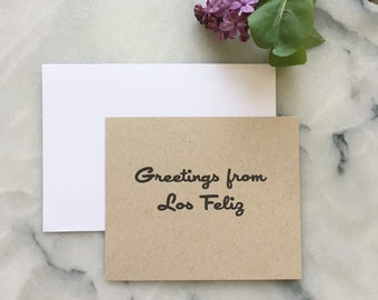 Greetings From Los Feliz, set of 4 cards with envelopes
