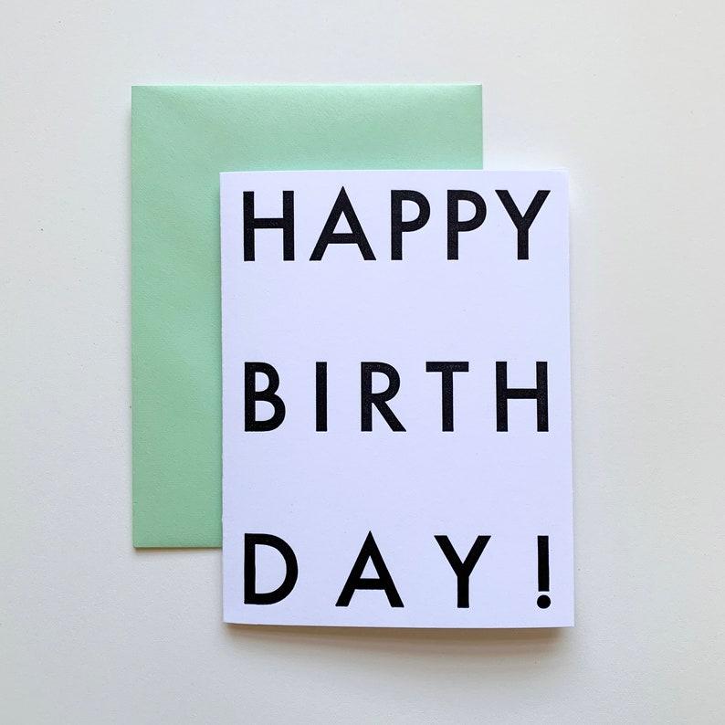 Happy Birthday Futura Minimalist Typographical Letterpress image 0