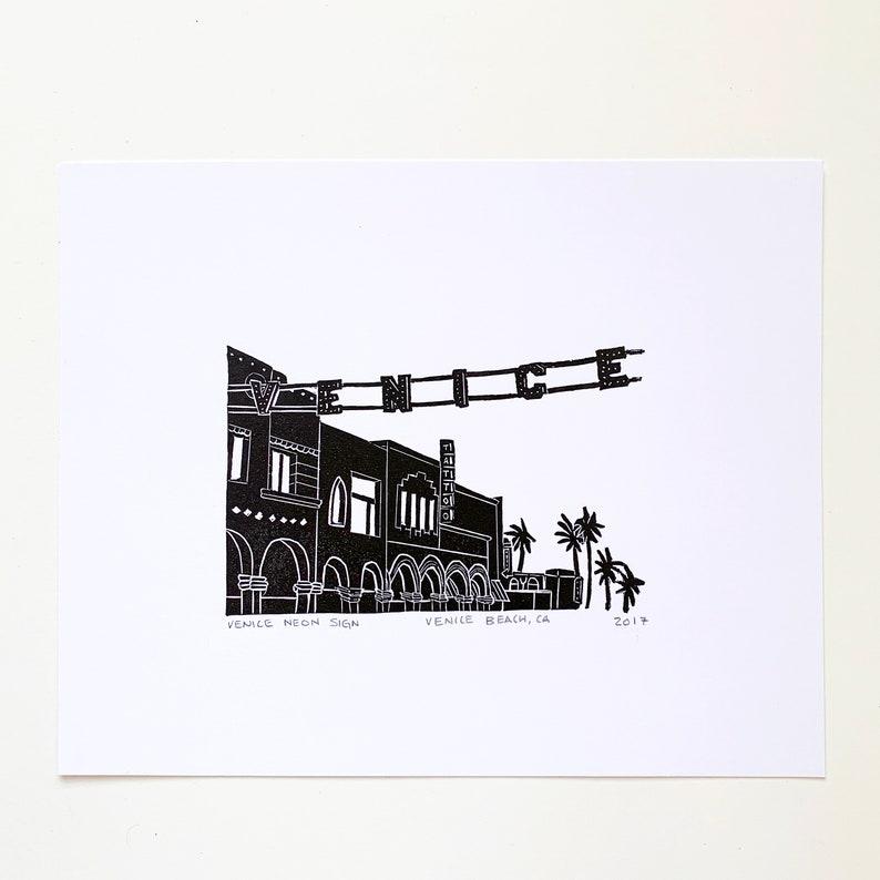 Venice Neon Sign Letterpress Print Unframed image 0