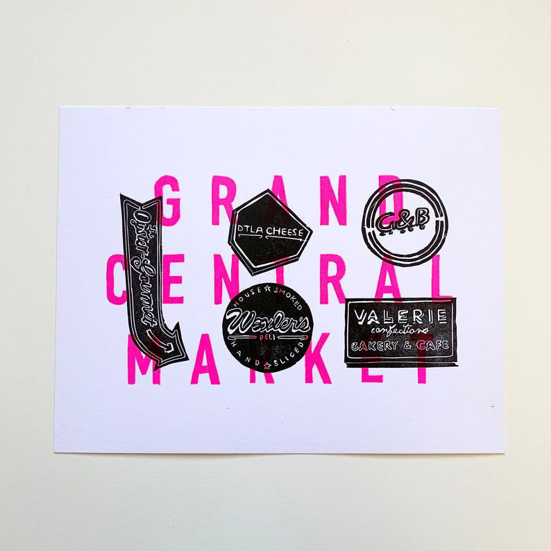 2016 Grand Central Market Los Angeles Letterpress Print image 0