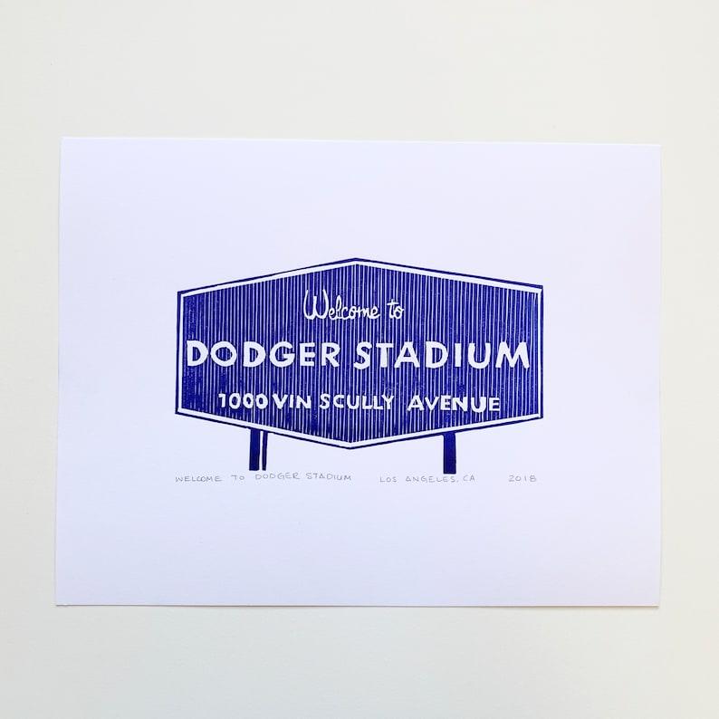 Welcome to Dodger Stadium Sign Letterpress Print Unframed image 0
