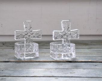 Glass Cross Tealight Votive Set