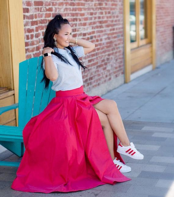 Chiara Skirt Red Voluminous Full Ball Gown Skirt With Slit Etsy