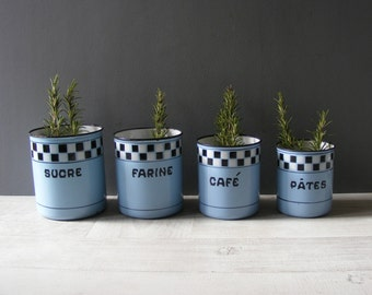 French Vintage Set Of 4 Enameled Metal Kitchen Canisters,with A Checkered  Pattern,called Lustucru.
