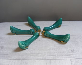 Midcentury French Vintage Set of 5 Green and Golden Ceramic Knife Rests,DUCK Decor.