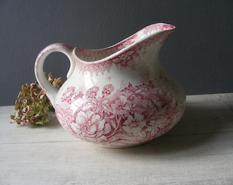 Antique French red Ironstone Pitcher, Red Transferware,by Hamage Nord.