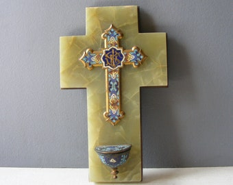 Antique French Cloisonné  Enamel Bénitier ,Lobed Enamel Holy Water Font,on an onyx  base,19 th .