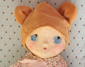 "Handmade Unic Cute ""AOA"" baby Doll, handmade in papier mâché and secret sealer, Izannah Walker body"