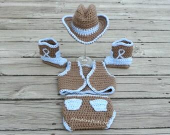 05c5454695d Newborn Baby Crochet Cowboy Hat Boots Vest Photo Prop Set Outfit Diaper  Cover Shower Gift 0-3 Months Keepsake