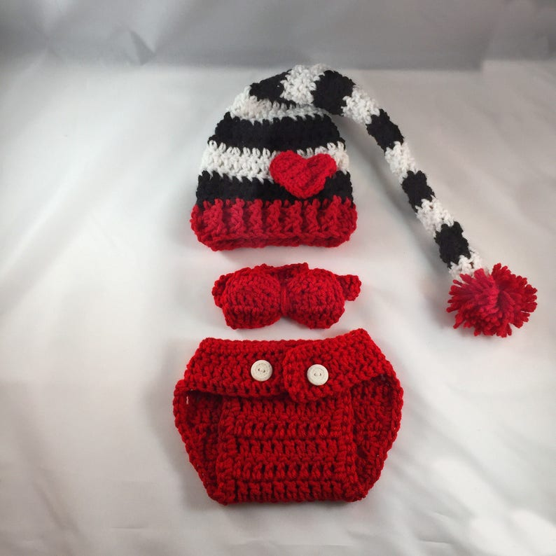 63a414dfc Crochet Baby Black and White Valentines Day Outfit, Heart Hat, Valentines  Day Baby Outfit, Girls Valentines Outfit, Boys Valntines Outfit,