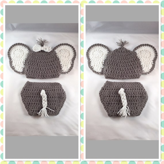 Amazon.com: Newborn Crochet Elephant Hat and Diaper Cover for baby ... | 570x570