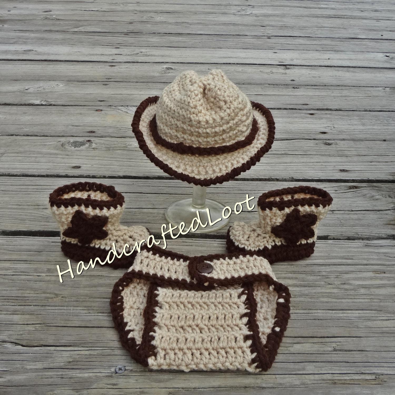Newborn Crochet Baby Cowboy Hat Boots Photo Prop Set Outfit  58a376f7d075