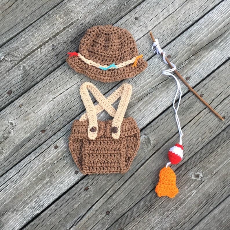 5804b3a5d Crochet Newborn Fishing Outfit Fly Fishing Hat Fishing Hat Newborn Boy Hat  Fisherman outfit Newborn Boy outfit Handmade Baby Boy Fishing