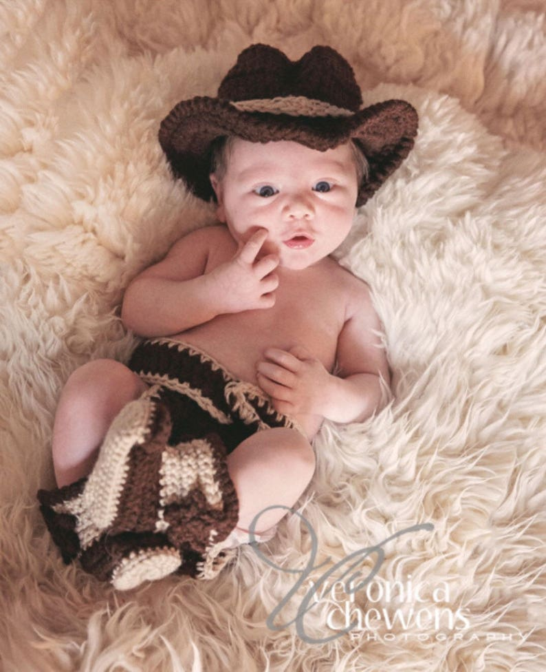 aa96b48e Crochet Baby Cowboy Outfit Cowboy Hat and Boots Set Newborn | Etsy