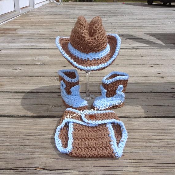 Neugeborenes Baby Häkeln Cowboyhut Stiefel Foto Prop Set Etsy