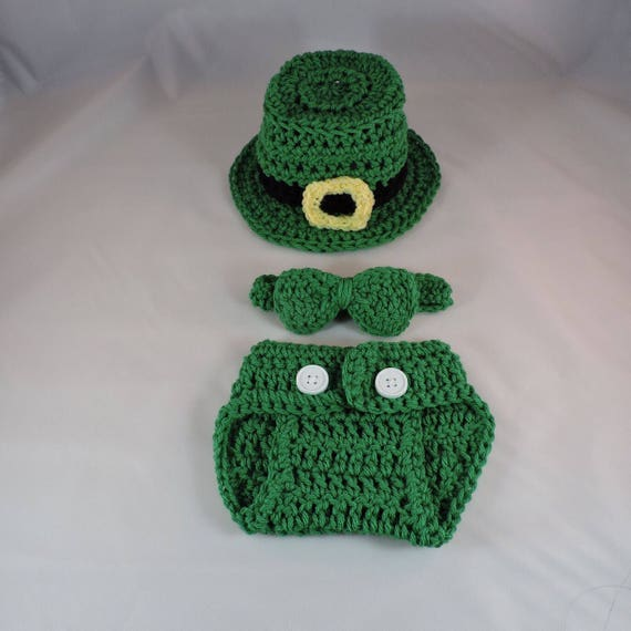 handmade crochet st patricks day leprechaun 5 piece outfit baby photo props