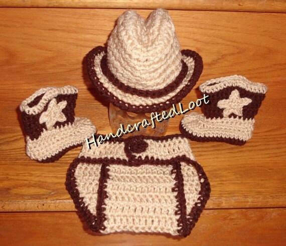 Crochet Newborn Baby Cowboy Hat Boots Outfit Photo Prop Set Diaper Cover  0-3 c9102061282e