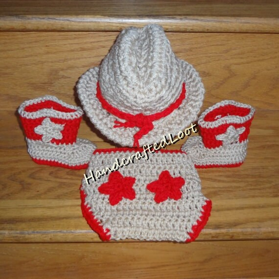 Newborn Baby Crochet Cowboy Hat Boots Photo Prop Set Outfit  ce283fa330af
