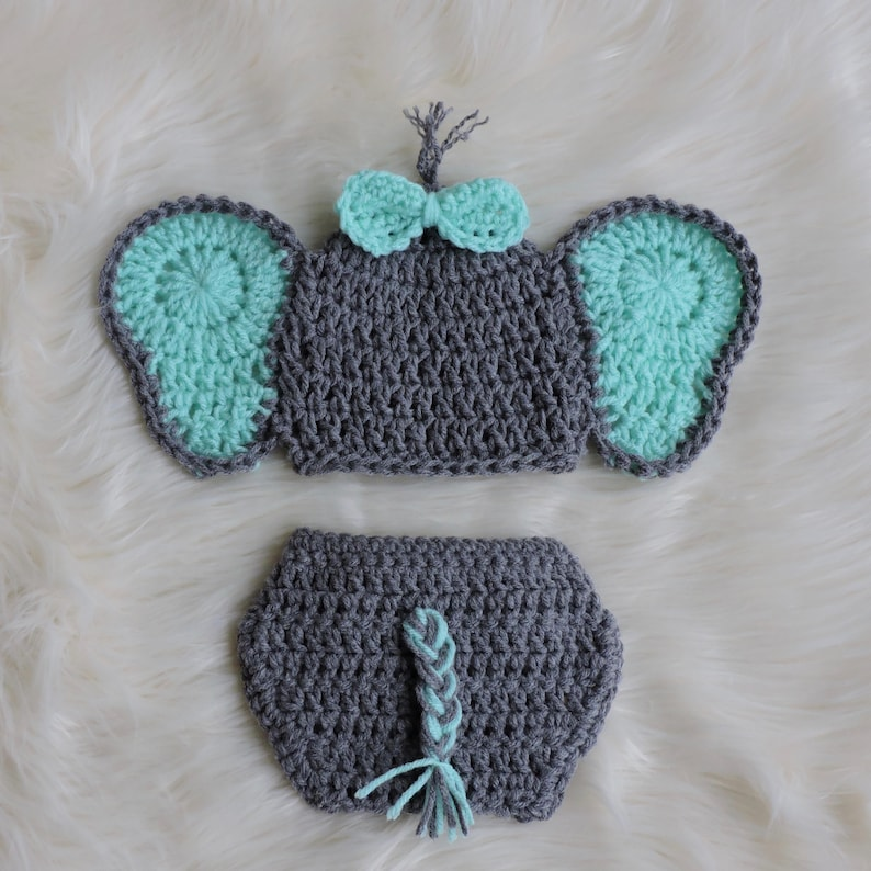 33954db9743 Crochet Elephant Outfit Elephant Hat and Diaper CoverNewborn