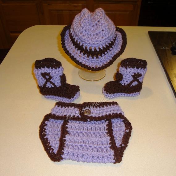Newborn Baby Crochet Cowgirl Cowboy Hat Boots Photo Prop Set  557cbdbad67b
